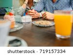 unrecognizable man and woman... | Shutterstock . vector #719157334