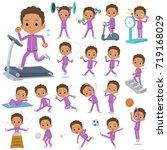 set of various poses of school... | Shutterstock .eps vector #719168029