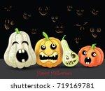 spooky halloween pumpkins card | Shutterstock .eps vector #719169781