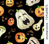 spooky halloween pumpkins... | Shutterstock .eps vector #719169871