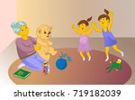 old baby sitter playng a game... | Shutterstock .eps vector #719182039