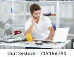 technician reqesting some help... | Shutterstock . vector #719186791