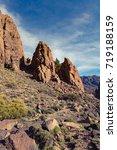 trail running girl in mountains ... | Shutterstock . vector #719188159