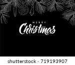 merry christmas  postcard with... | Shutterstock .eps vector #719193907