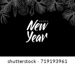 happy new year  postcard with... | Shutterstock .eps vector #719193961