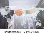 double exposure people shaking... | Shutterstock . vector #719197531