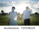 a couple with wedding dress... | Shutterstock . vector #719198125