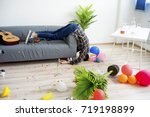 hangover after a party | Shutterstock . vector #719198899