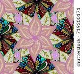 vector floral pattern in doodle ... | Shutterstock .eps vector #719200171