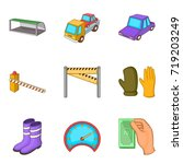 evacuation of car icons set.... | Shutterstock .eps vector #719203249