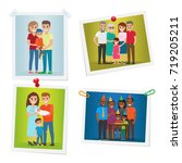 family photos with happy... | Shutterstock . vector #719205211