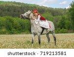 girl in national costume  tatar.... | Shutterstock . vector #719213581