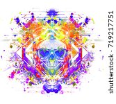 evil skull colorful art... | Shutterstock . vector #719217751
