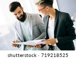 picture of young architects... | Shutterstock . vector #719218525