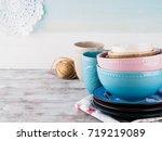 ceramic crockery tableware on... | Shutterstock . vector #719219089