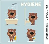 set of funny bear is hygiene ... | Shutterstock .eps vector #719222755