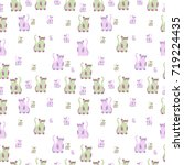 pattern with cute cats.... | Shutterstock .eps vector #719224435