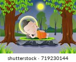 lord of buddha sleep under tree ... | Shutterstock .eps vector #719230144