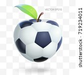 floating football apple. vector ... | Shutterstock .eps vector #719234011