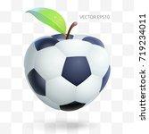 football apple. creative fruit... | Shutterstock .eps vector #719234011