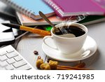 coffee in a composition with... | Shutterstock . vector #719241985