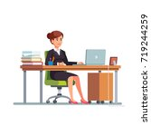 business woman or a clerk  in a ... | Shutterstock .eps vector #719244259