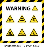 set of warning sign  yellow and ... | Shutterstock .eps vector #719245219