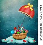 fantasy holiday greeting card... | Shutterstock . vector #719247955