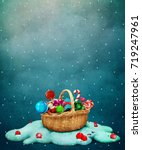 fantasy holiday greeting card... | Shutterstock . vector #719247961