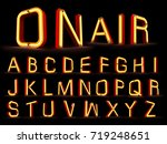 neon light alphabet 3d rendering | Shutterstock . vector #719248651