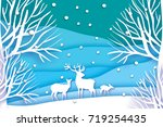 paper cut deer family in snowy... | Shutterstock .eps vector #719254435
