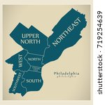 modern city map   philadelphia...   Shutterstock .eps vector #719254639