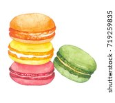 watercolor macaroon on white... | Shutterstock . vector #719259835