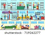 car service interior set.... | Shutterstock . vector #719262277