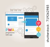 pwa progressive web app  the... | Shutterstock .eps vector #719262985