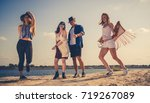 group of friends partying and... | Shutterstock . vector #719267089