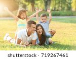 happy family making selfie in... | Shutterstock . vector #719267461