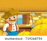cartoon scene with happy man... | Shutterstock . vector #719268754