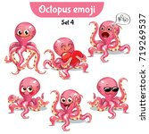 vector set of cute octopus... | Shutterstock .eps vector #719269537