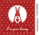 love card with bunny and hearts   Shutterstock .eps vector #719270959
