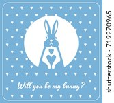 love card with bunny and hearts | Shutterstock .eps vector #719270965