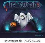 halloween background with ghost ... | Shutterstock .eps vector #719276101