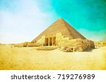 pyramids with a beautiful sky... | Shutterstock . vector #719276989