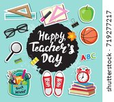 stickers with school supplies... | Shutterstock .eps vector #719277217