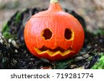 Curved Halloween Pumpkin On Th...