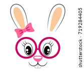 cute bunny with pink bow and...   Shutterstock .eps vector #719284405