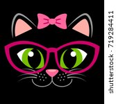 cute black kitten with pink bow ... | Shutterstock .eps vector #719284411