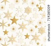hand drawn golden stars pattern.... | Shutterstock .eps vector #719285209