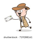 cartoon detective running to... | Shutterstock .eps vector #719288161