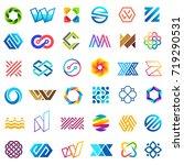 big vector set of logo design.... | Shutterstock .eps vector #719290531